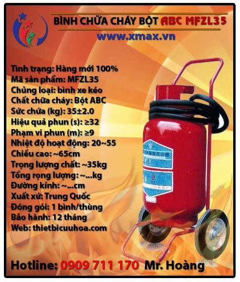 Bình chữa cháy bột ABC MFZL35 35kg loại có xe đẩy
