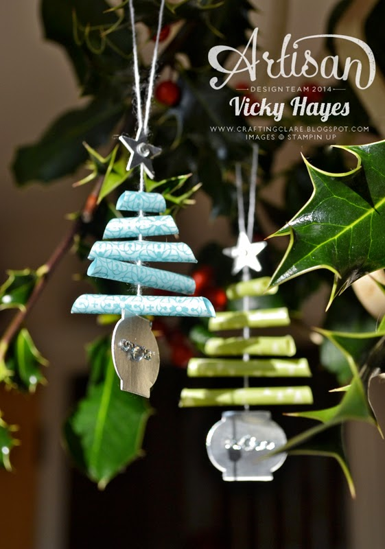 Christmas tree decorations using Stampin' Up punches and washi tape
