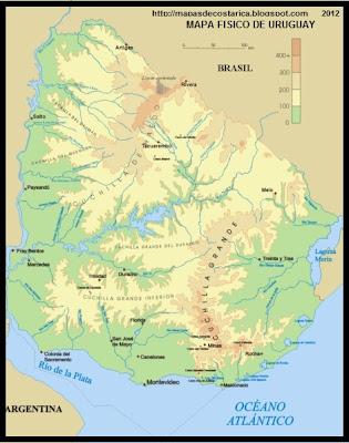 Mapa Fisico de URUGUAY, wikipedia