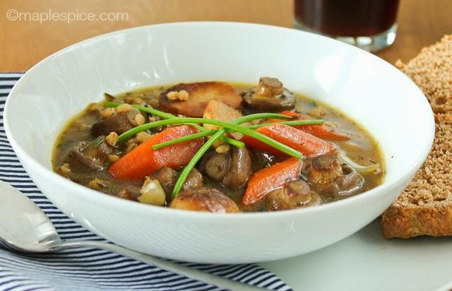 Roasted Baby Vegetable Irish Stew with Pearl Barley - vegan recipe