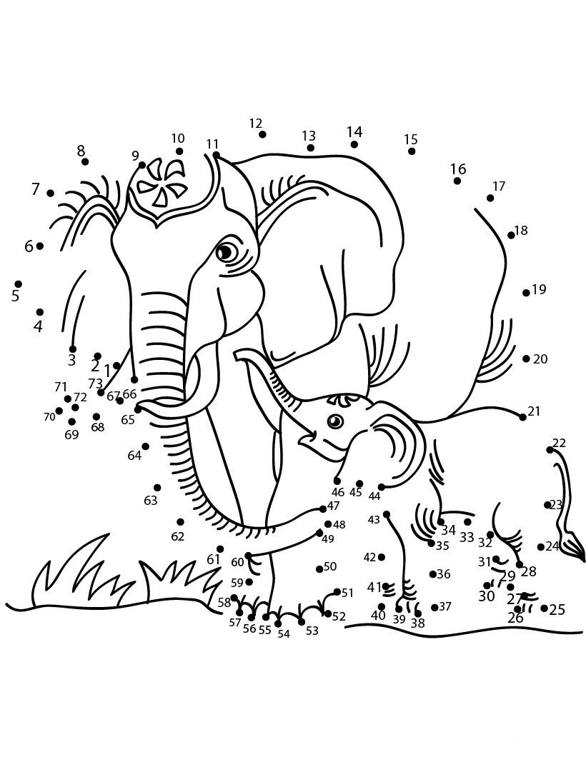 Desenhos Preto e Branco Ligar pontos animais selvagens Colorir