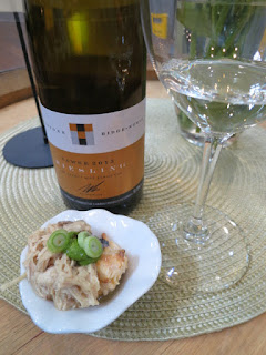 2013 Tawse Limestone Ridge Riesling (89 pts) paired with herbed pulled chicken topped with fresh salsa verde