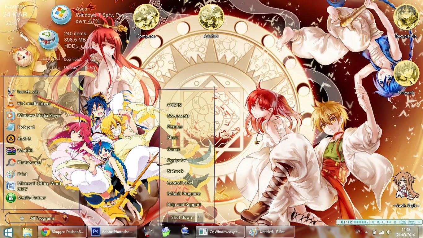 Anime Skin Theme Win 7 Magi  The Labyrinth of Magic By Bashkara