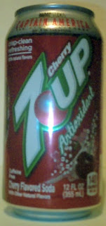 Right side of of Cherry 7Up Antioxidant Red Skull can