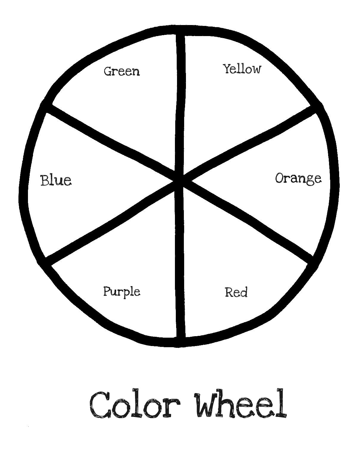Color theory worksheet for kids - Color Wheel Templates Picture 1200x1520