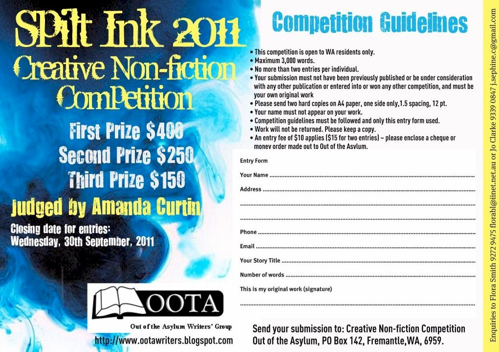 non fiction writing contests Hmmm my source for contests seems to have dried up for nonfiction writing contests, try the poets and writers listings.