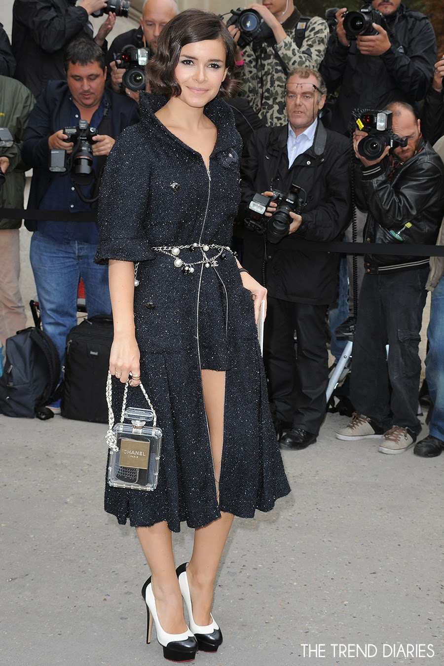 Miroslava Duma chanel perfume bottle bag