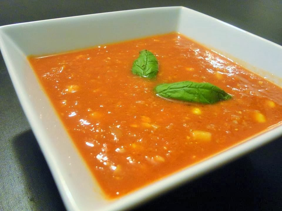 Tomato & Sweetcorn Soup with Fresh Basil Recipe
