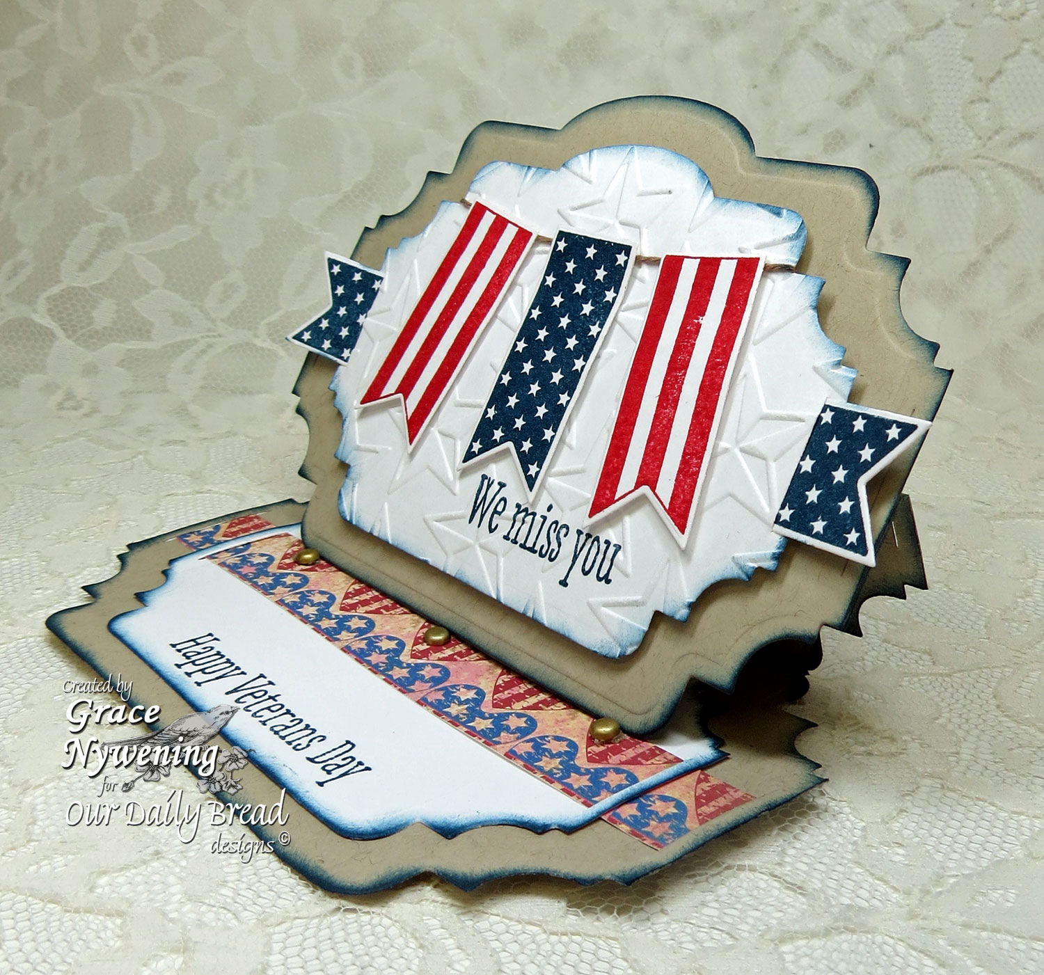 Stamps - Our Daily Bread Designs Patriotic Pennants, ODBD Custom Pennants Die, ODBD Heart and Soul Paper Collection