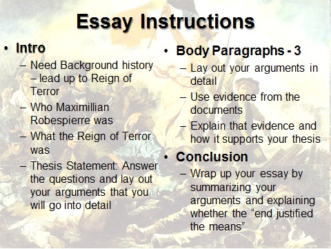 Essay questions about the reign of terror