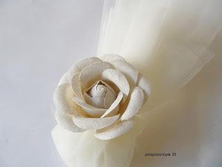 μπομπονιερα γάμου κλασσικη με λουλουδι ρομαντικη vintage