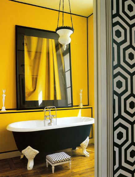 To da loos: A splash of yellow in the bathroom can be a