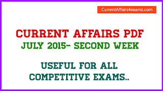 July 2015 Current Affairs PDF