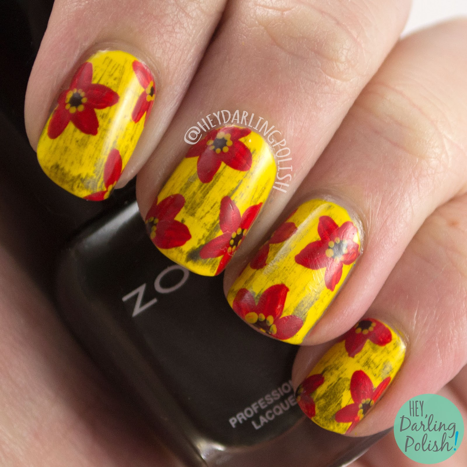 nails, nail art, nail polish, yellow, floral, flowers, red, hey darling polish, zoya, free hand