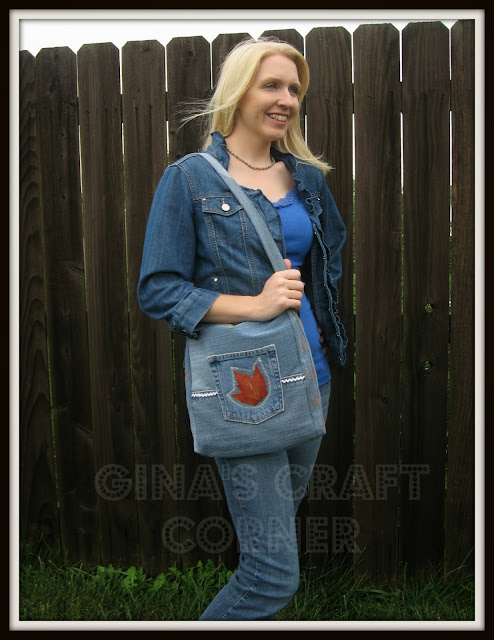 Blue Jean Bag w/ Pressed Leaves