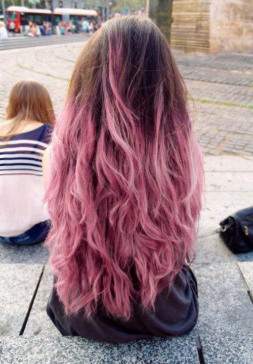 melena+larga+rosa+de+moda