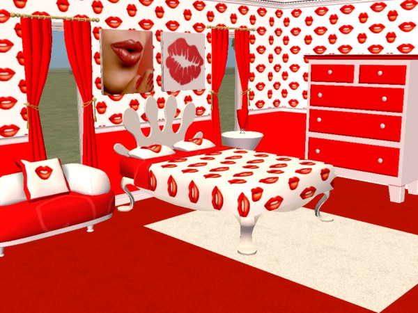 """Red Paint"" Interior Designs Bedroom 
