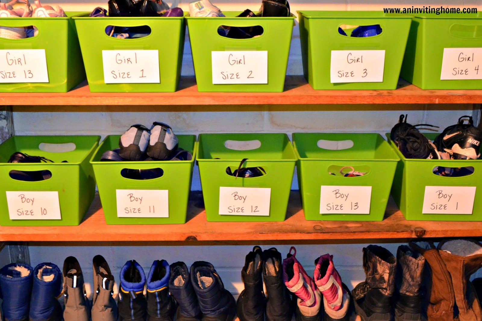 using bins to store kids shoes and boots