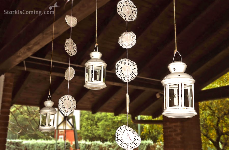 rustic chic party decorations with doilies