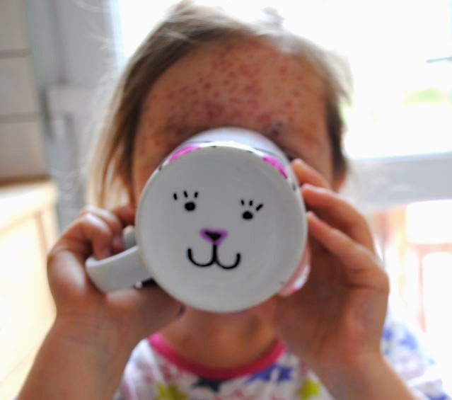 DIY cat ears & face stencil mug
