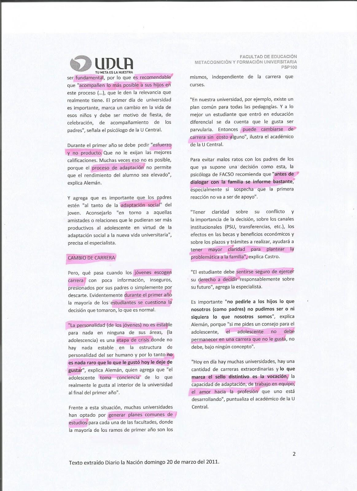 PSP 100 Metacognición y Formación Universitaria: Taller nº 1 ...