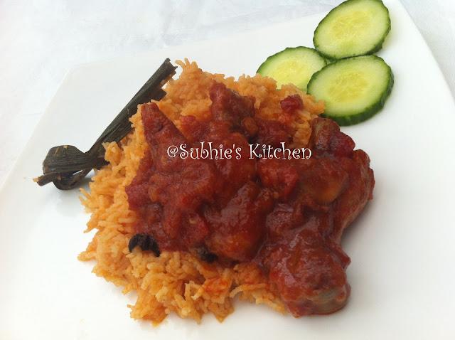 Tomato Purée Pulao with Red Honeyed Chicken-Nasi Tomato Puri -Ayam Masak Merah Madu,indian food,indian food,indian food boston,indian food recipes,i
