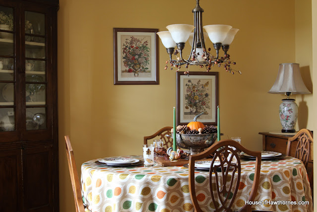 A vintage inspired Thanksgiving table set with items commonly found at thrift stores and estate sales  via houseofhawthornes.com