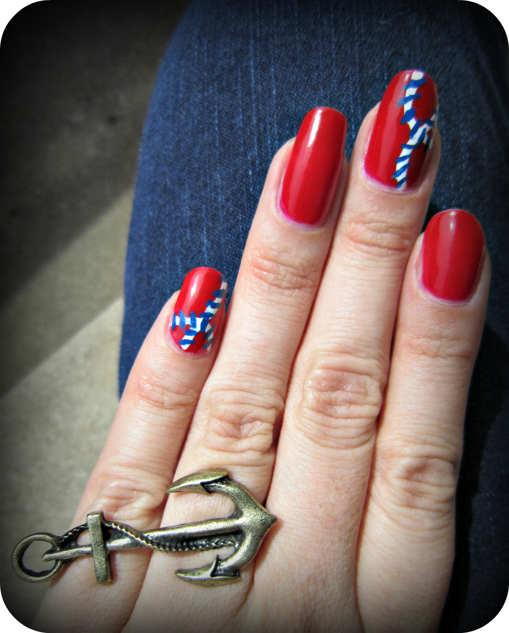 Concrete And Nail Polish Striped Nail Art: Concrete And Nail Polish: Nautical Nails
