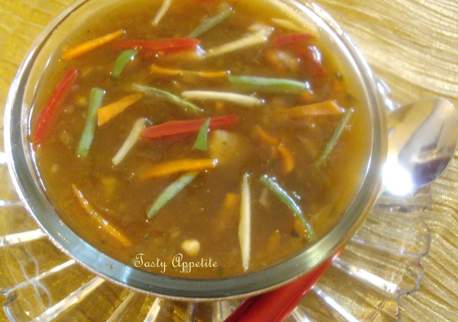 Yummy and healthy home made Hot & Sour Veg Soup ready to enjoy.