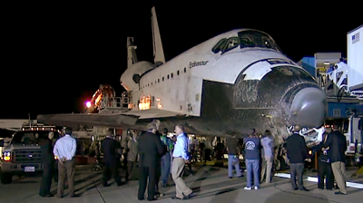 Endeavour, wheel stop at runway, waiting for astronauts. NASA 2011.