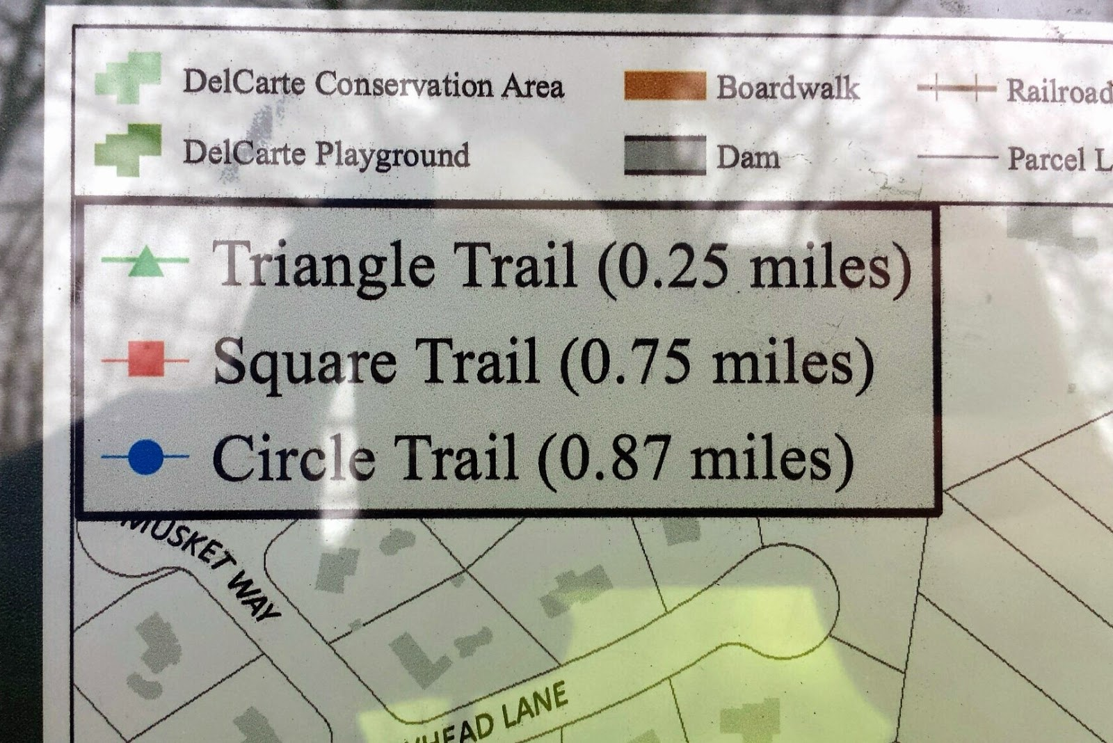 close up showing the key to the trail marking and length