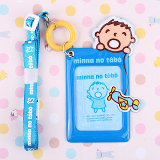 SANRIO MINNA NO TABO PVC CARD HOLDER WITH CONTRACTIBLE STRING 110437