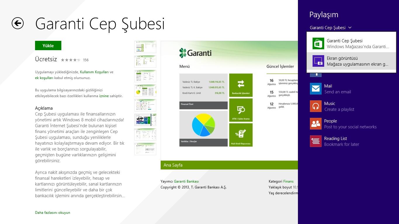 Windows 8 Mağazada Uygulama Sayfalarının Ekran Görüntüsünü Paylaşın