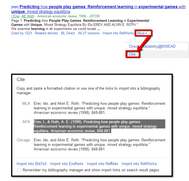 Academic Trends amp; Innovations: Cite feature in Google Scholar