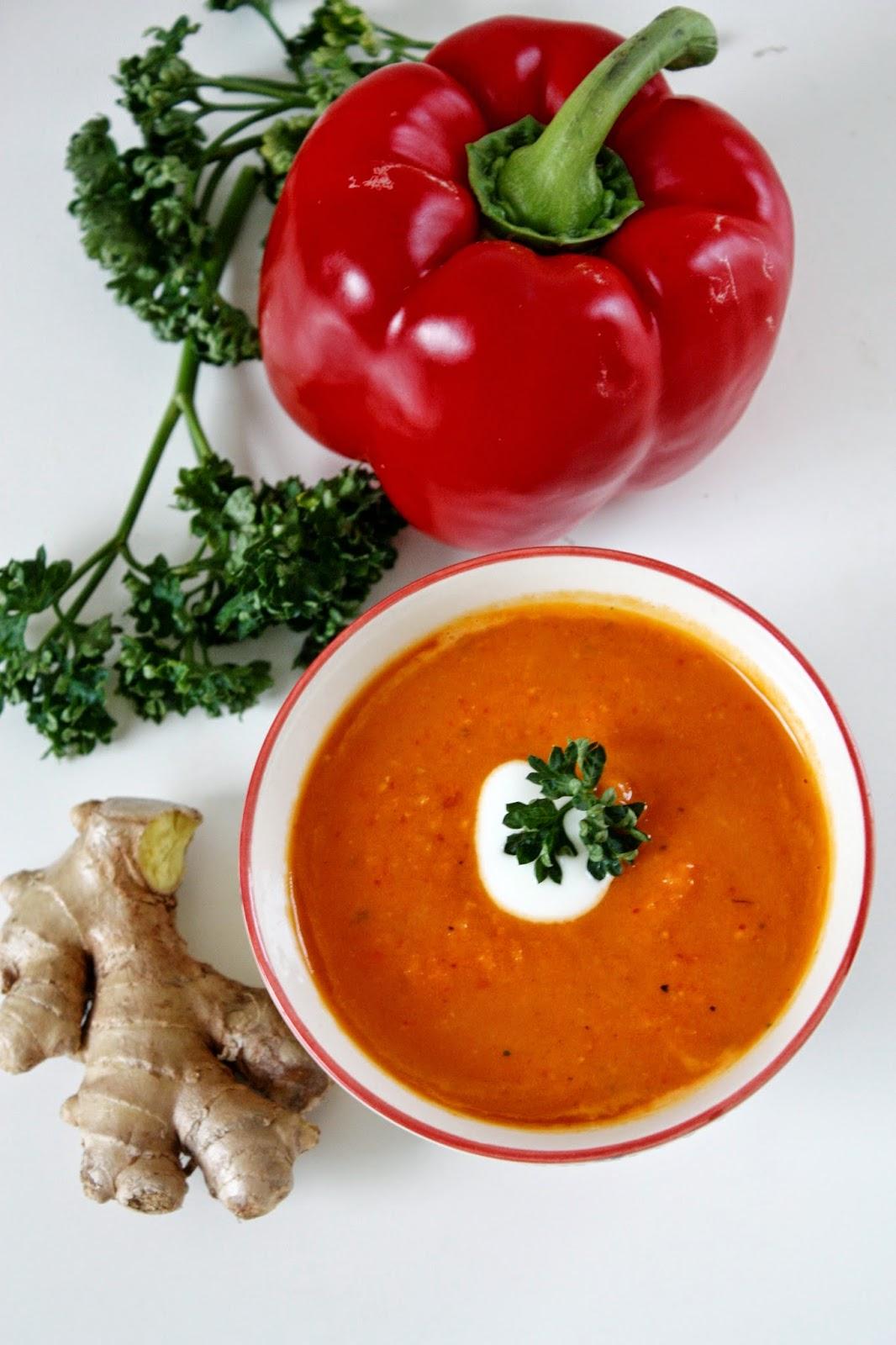 Süßkartoffel Suppe mit Kokosmilch Karotte und Ingwer