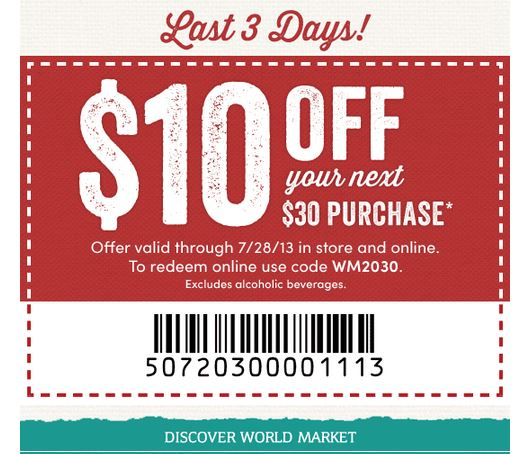 World market coupons $10 off $30
