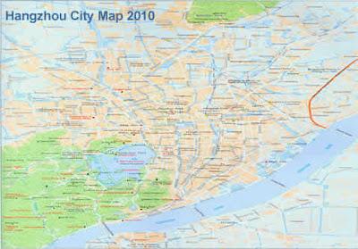 Hangzhou City Map of China