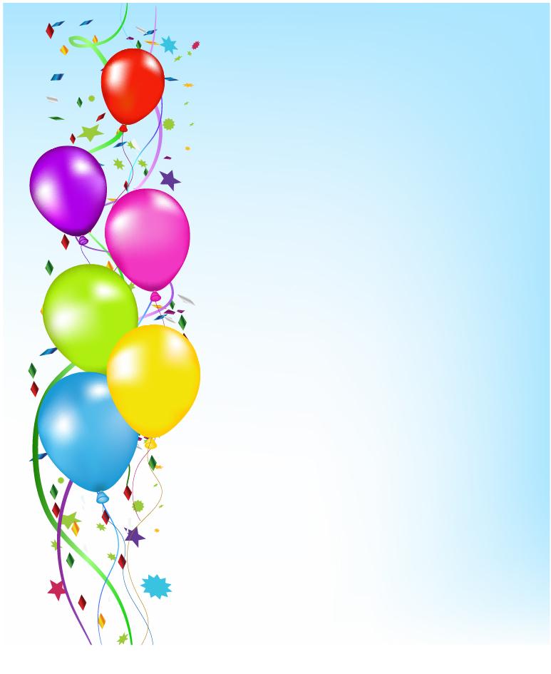カラフルな風船が舞い上がる背景 Party Balloons Background イラスト素材