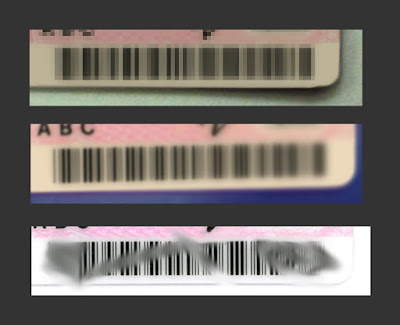 [Image: Three barcodes each distorted in a different way - pixelated, blurred, or smudged.]