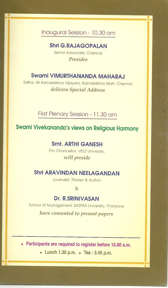Brain Storming Seminar on the views of Swami Vivekananda in Chennai