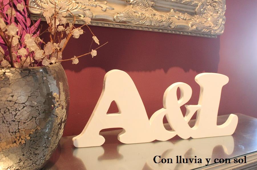 Con lluvia y con sol letras decorativas de madera a l enlazadas - Letras de madera decorativas ...