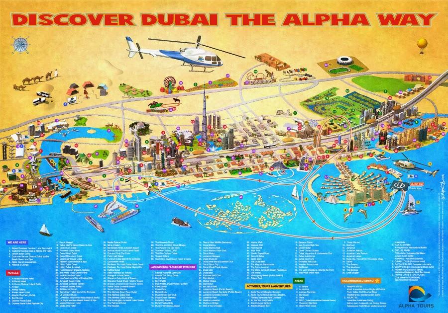 mapa map dubai turistico