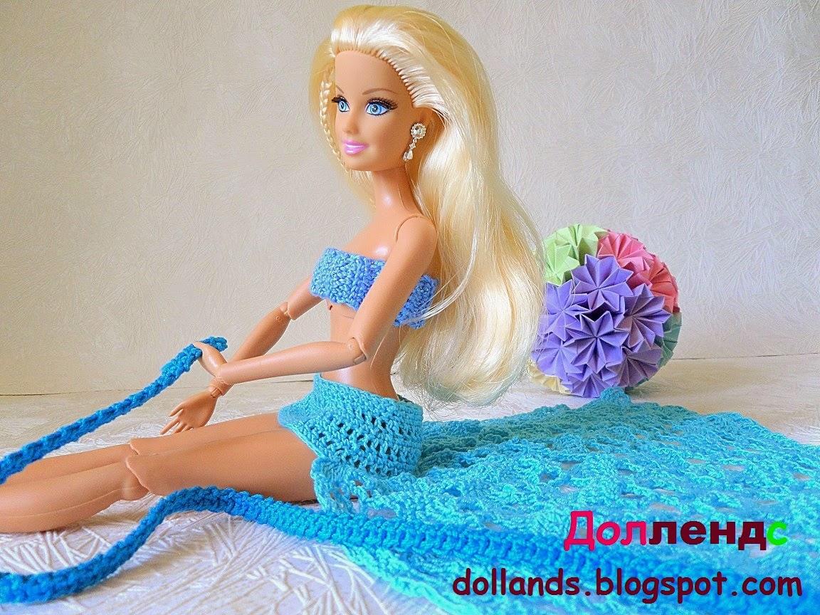 Весь комплект предметов купальника для кукол Барби составлен по принципу градиента, от более светлых, до более темных и насыщенных