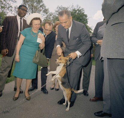 President Holding Dog By Ears