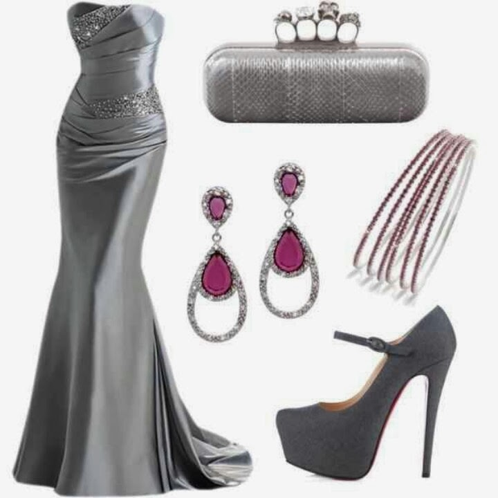 Adorable Grey Wedding Dress with Accessories(Rings, Earrings, Bracelets, Shoes)