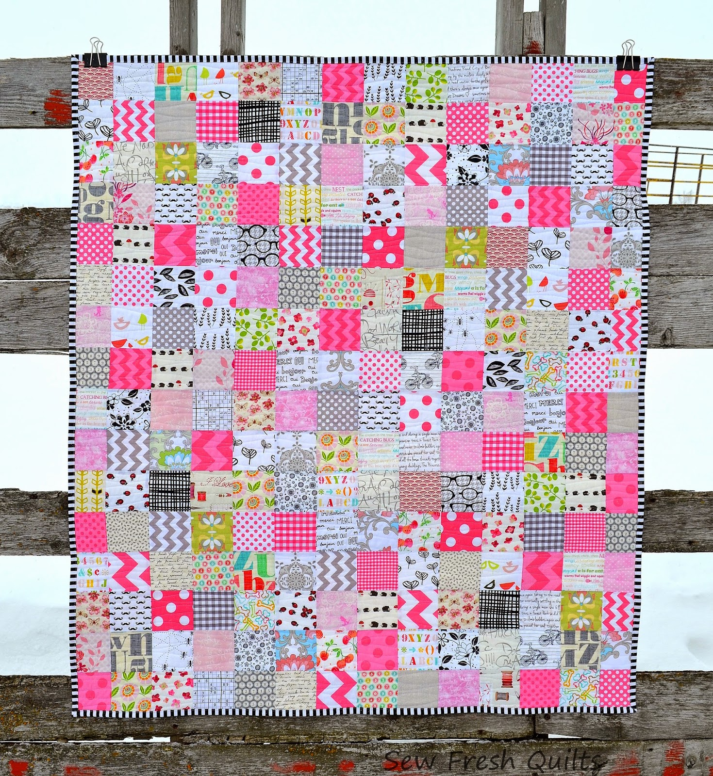 Sew Fresh Quilts: Pretty in Pink patchwork baby quilt : pink patchwork quilts - Adamdwight.com