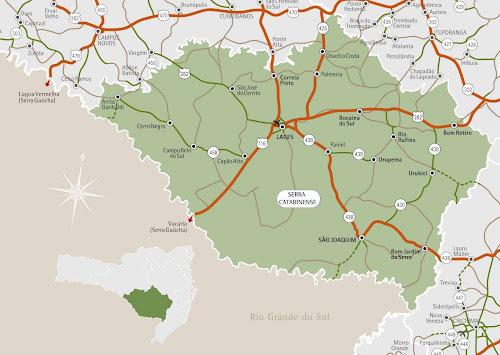 Mapa da região da Serra de Santa Catarina