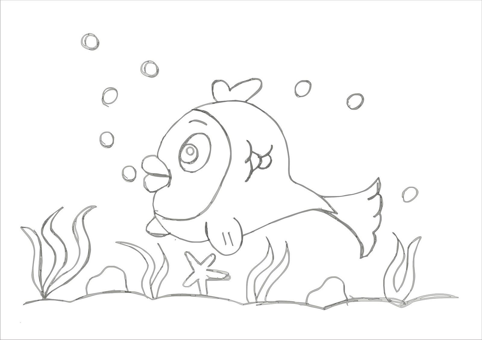 Desenho Para Pintar De Peixe Desenhos De Natureza Para Colorir