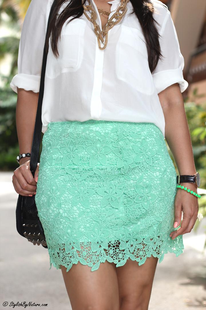 lace skirt - white shirt