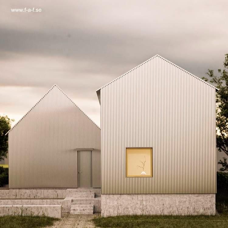 Imagen del renderizado de un proyecto de casa de chapa y madera en Suecia